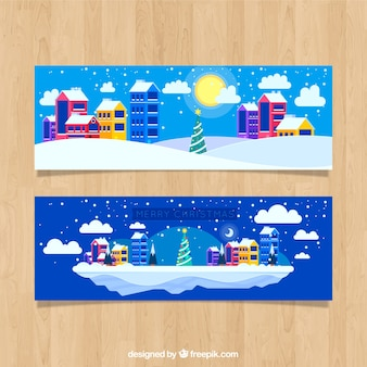Flat christmas colorful town banner