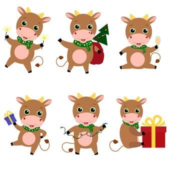 Набор плоских рождественских милых быков