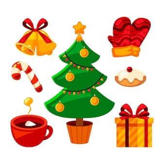 Плоская рождественская коллекция элементов