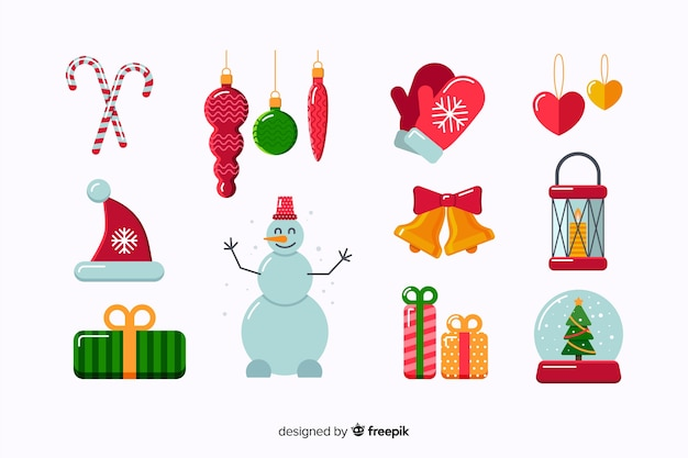 Flat christmas elements collection