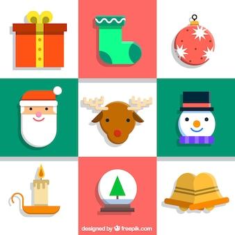フラットクリスマスの要素のアイコンコレクション