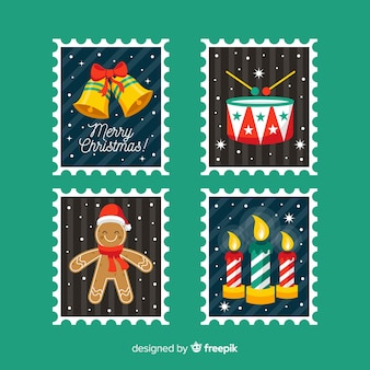 Flat christmas elements stamp pack