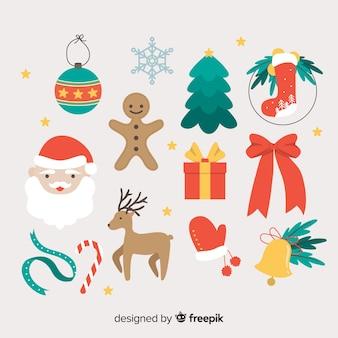 Flat christmas elements