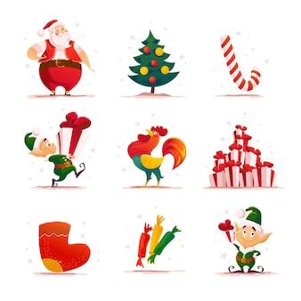 サンタのエルフのキャラクターとフラットのクリスマスのエルフの肖像画