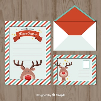Flat christmas envelope and letter concept