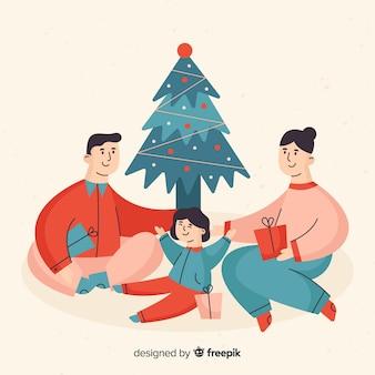 Flat christmas family scene