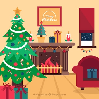 Flat christmas fireplace scene with a christmas tree