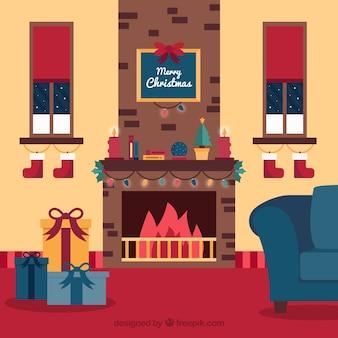 플랫 크리스마스 벽난로 장면