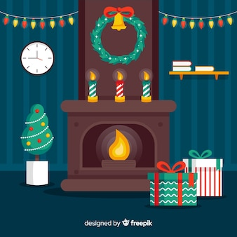 Flat christmas fireplace scene