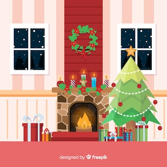 Flat christmas fireplace scene