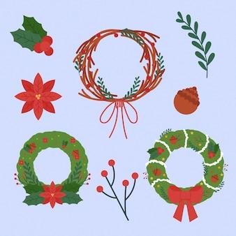 フラットクリスマスフラワー&リースコレクション
