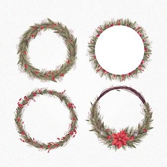 フラットなクリスマスの花と花輪のコレクション