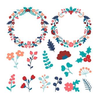 Плоский рождественский ассортимент цветов и венков
