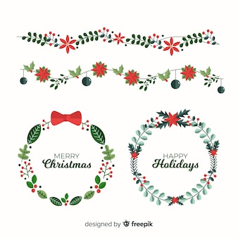 Flat christmas flower and wreath collection
