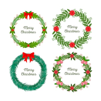Flat christmas flower & wreath collection