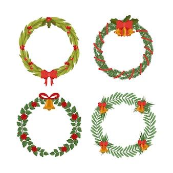 Flat christmas flower & wreath set