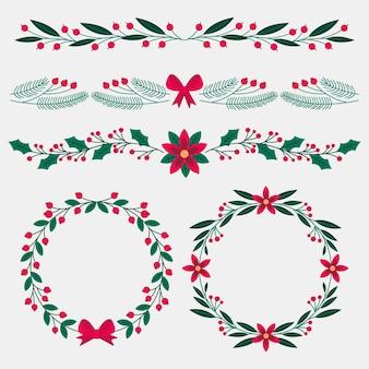 플랫 크리스마스 프레임 및 테두리 컬렉션