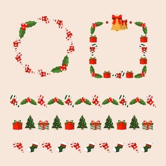 フラットクリスマスフレームとボーダーコレクション