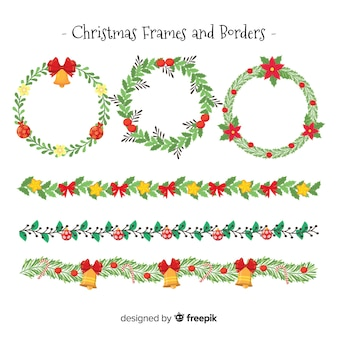 Flat christmas frames and borders pack