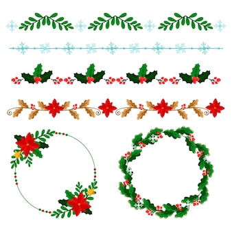 Flat christmas frames and borders