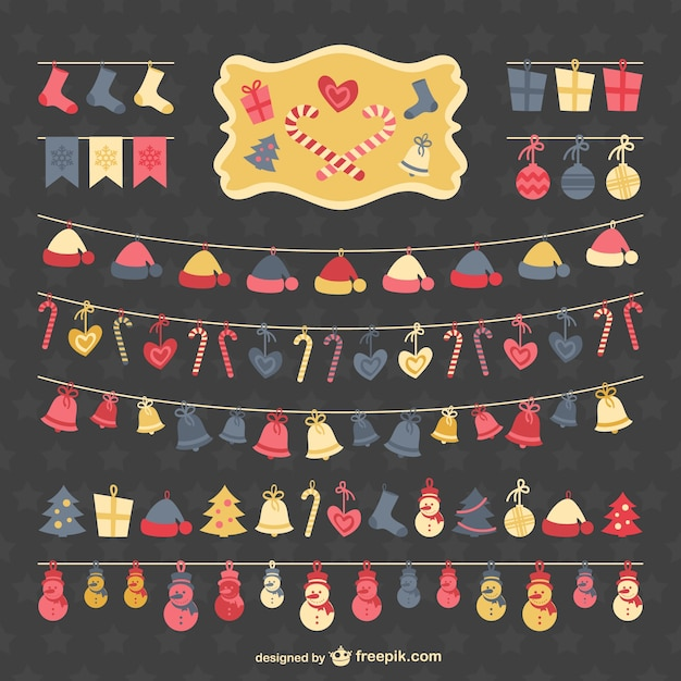 Flat christmas garlands collection