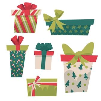Collezione di regali di natale piatto