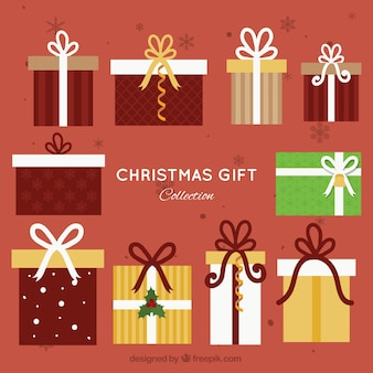 Flat christmas giftboxes with bows collection