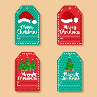 Flat christmas greetings elements sale tag collection