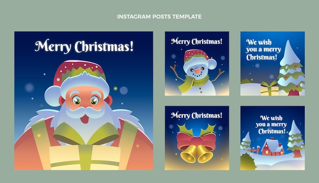 Flat christmas instagram posts collection