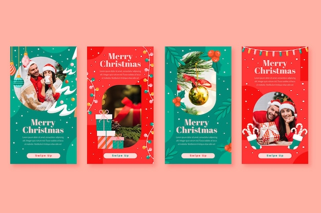 Flat christmas instagram stories collection