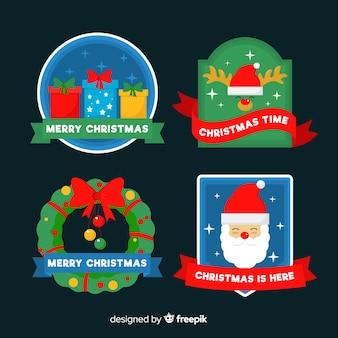 Плоская рождественская этикетка / коллекция значков