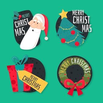 Плоская рождественская коллекция этикеток