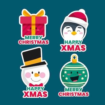 Плоская рождественская этикетка