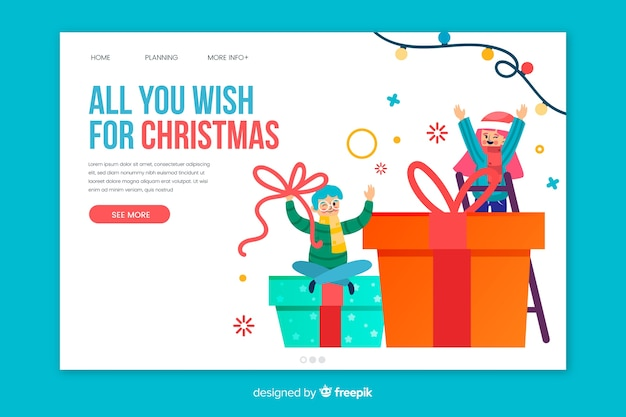 Flat christmas landing page template