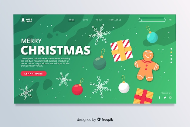 Flat christmas landing page with decorations
