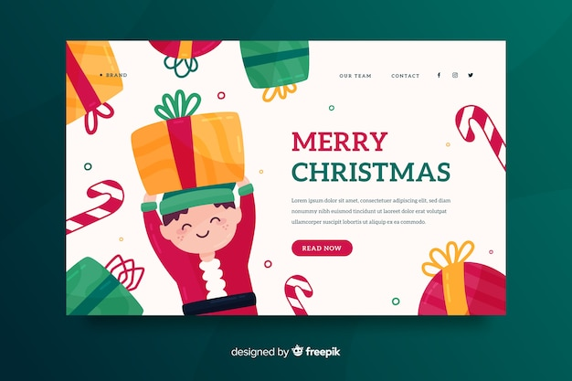 Flat christmas landing page with elf