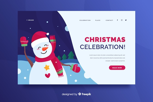 Flat christmas landing page with snowman