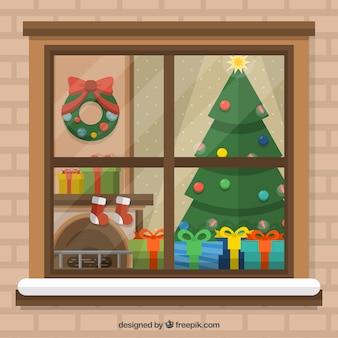 평면 크리스마스 거실 배경