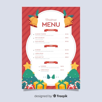 Flat christmas menu template with gifts