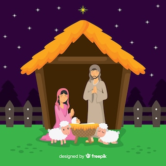Flat christmas nativity scene