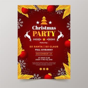 사진 플랫 크리스마스 파티 전단지 서식 파일