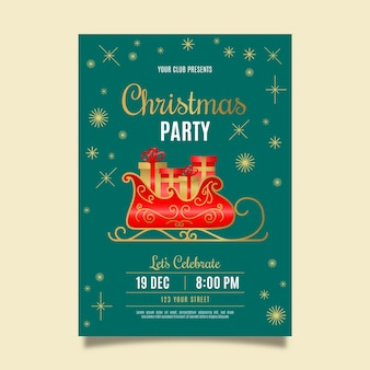 Flat christmas party flyer template