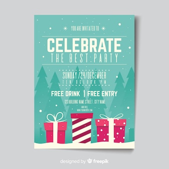 Flat christmas party poster design
