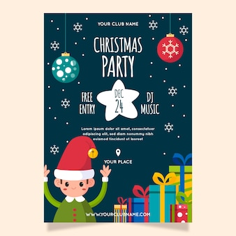 Flat christmas party poster template