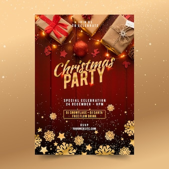 Flat christmas party template