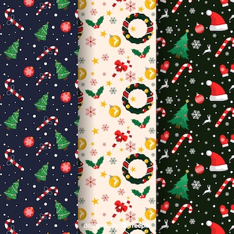 Flat christmas pattern collection with wreath and trees