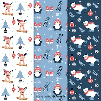 Flat christmas pattern collection