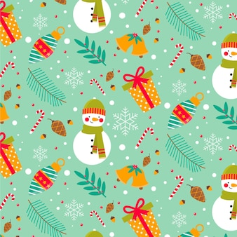 Flat christmas pattern collection Free Vector