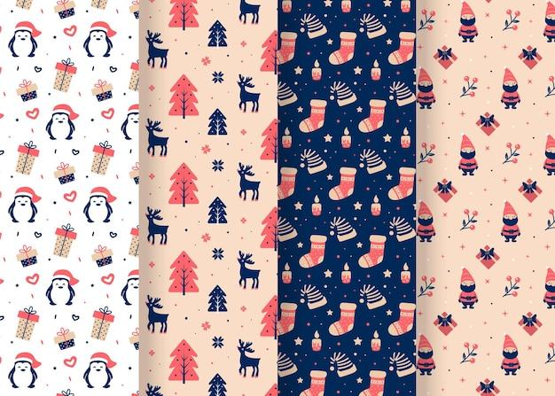 평면 크리스마스 패턴 컬렉션