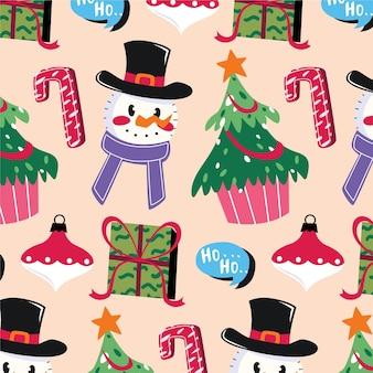 フラットなクリスマスパターンのデザイン